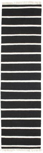 Dhurrie Stripe - Noir/Blanc Tapis 80X300 Moderne Tissé À La Main Tapis Couloir Noir/Blanc/Crème (Laine, Inde)