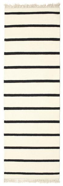 Dhurrie Stripe - Blanc/Noir Tapis 80X250 Moderne Tissé À La Main Tapis Couloir Blanc/Crème/Beige (Laine, Inde)