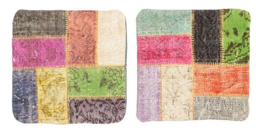 Patchwork Taie De Coussin Tapis 50X50 D'orient Fait Main Carré Gris Foncé/Rose Clair (Laine, Turquie)