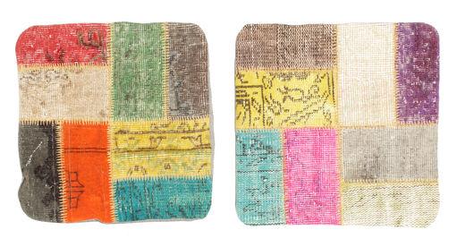 Patchwork Taie De Coussin Tapis 50X50 D'orient Fait Main Carré Jaune/Vert Clair (Laine, Turquie)