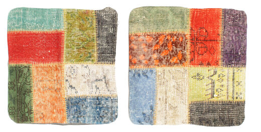 Patchwork Taie De Coussin Tapis 50X50 D'orient Fait Main Carré Vert Clair/Orange (Laine, Turquie)