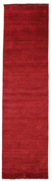 Handloom Fringes - Rouge Foncé Tapis 80X300 Moderne Tapis Couloir Rouge (Laine, Inde)