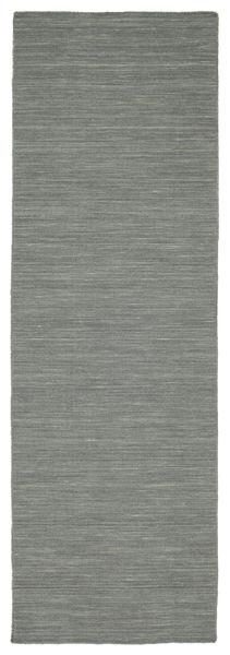 Kilim Loom - Gris Foncé Tapis 80X250 Moderne Tissé À La Main Tapis Couloir Gris Clair/Vert Foncé (Laine, Inde)
