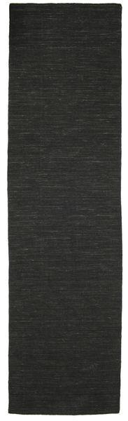 Kilim Loom - Noir Tapis 80X300 Moderne Tissé À La Main Tapis Couloir Noir (Laine, Inde)