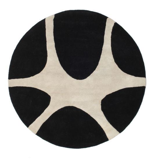 Stones Handtufted - Noir Tapis Ø 150 Moderne Rond Noir/Gris Clair (Laine, Inde)