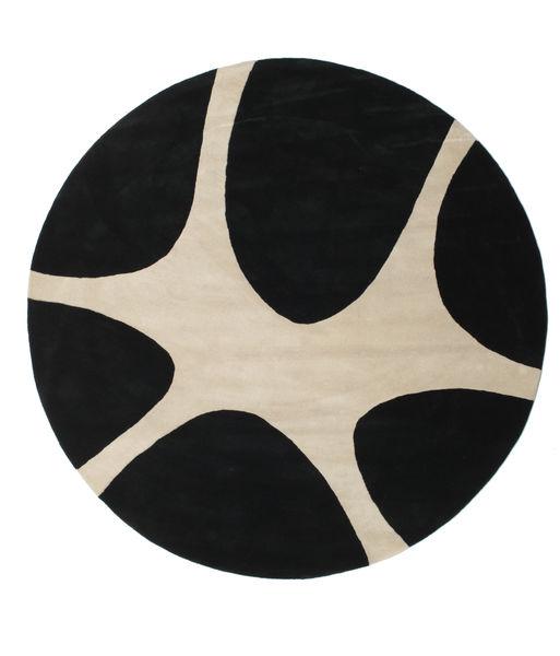 Stones Handtufted - Noir Tapis Ø 225 Moderne Rond Noir/Gris Clair (Laine, Inde)