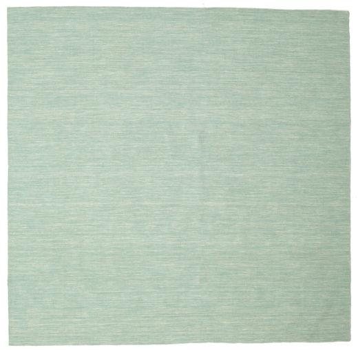 Kilim Loom - Mint Vert Tapis 250X250 Moderne Tissé À La Main Carré Vert Pastel/Bleu Turquoise Grand (Laine, Inde)