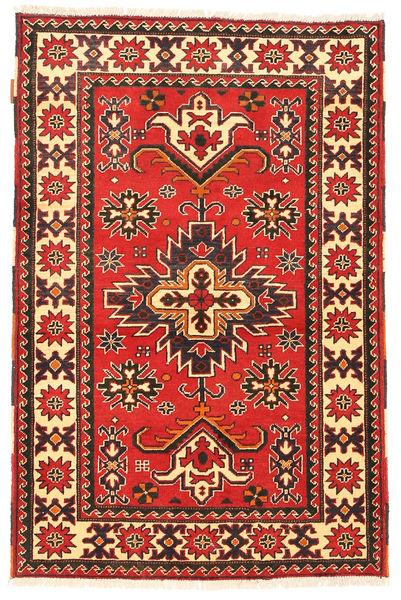 Kazak Tapis 97X149 D'orient Fait Main Rouge Foncé/Marron Foncé (Laine, Pakistan)