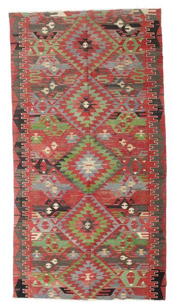 Kilim Semi-Antique Turquie Tapis 170X316 D'orient Tissé À La Main Rouge Foncé/Vert Olive (Laine, Turquie)