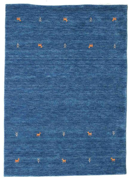 Gabbeh Loom Two Lines - Bleu Tapis 140X200 Moderne Bleu Foncé/Bleu (Laine, Inde)
