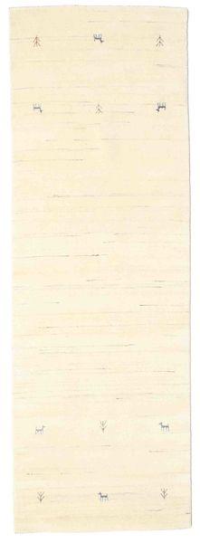Gabbeh Loom Two Lines - Blanc Écru Tapis 80X250 Moderne Tapis Couloir Beige/Blanc/Crème (Laine, Inde)