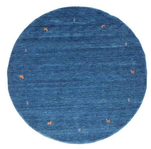 Gabbeh Loom Two Lines - Bleu Tapis Ø 200 Moderne Rond Bleu Foncé/Bleu (Laine, Inde)