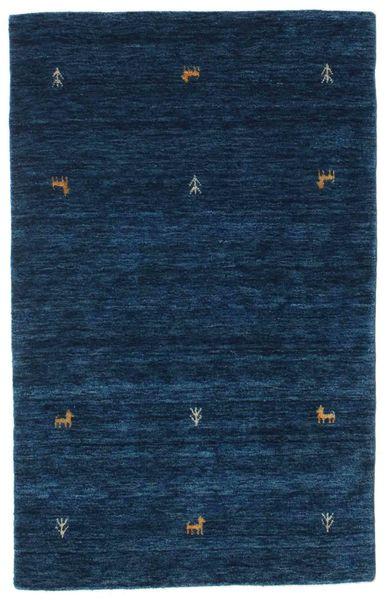 Gabbeh Loom Two Lines - Bleu Foncé Tapis 100X160 Moderne Bleu Foncé (Laine, Inde)