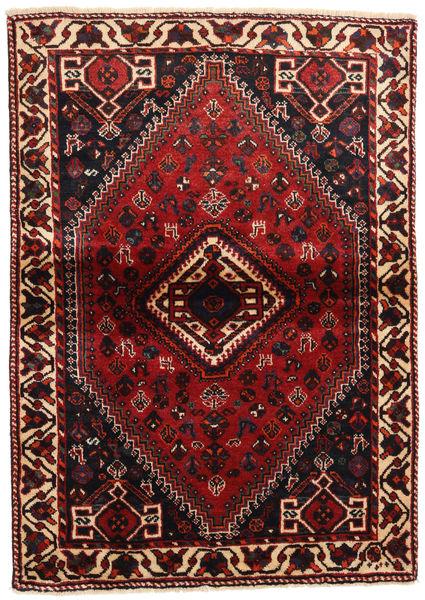 Shiraz Tapis 113X160 D'orient Fait Main Rouge Foncé/Marron Foncé (Laine, Perse/Iran)