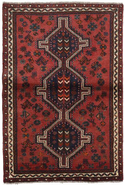 Shiraz Tapis 103X155 D'orient Fait Main Rouge Foncé/Noir (Laine, Perse/Iran)