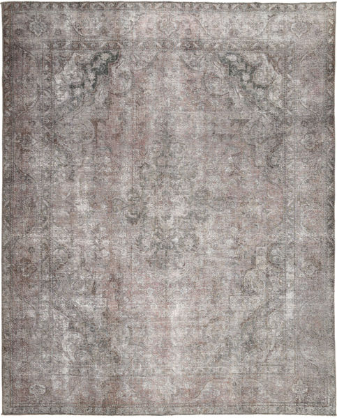 Colored Vintage Tapis 297X373 Moderne Fait Main Gris Clair/Marron Foncé Grand (Laine, Pakistan)