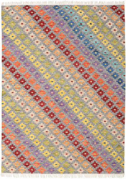 Spring Kilim Tapis 210X290 Moderne Tissé À La Main Gris Clair/Beige Foncé (Laine, Inde)