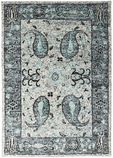 Vega Sari Soie - Gris Tapis 160X230 Moderne Fait Main Gris Clair/Beige (Soie, Inde)