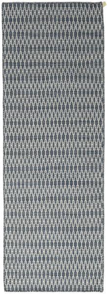 Kilim Long Stitch - Bleu Tapis 80X240 Moderne Tissé À La Main Tapis Couloir Gris Clair/Bleu (Laine, Inde)