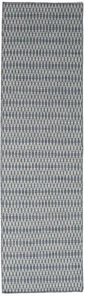 Kilim Long Stitch - Bleu Tapis 80X290 Moderne Tissé À La Main Tapis Couloir Gris Clair/Gris Foncé (Laine, Inde)