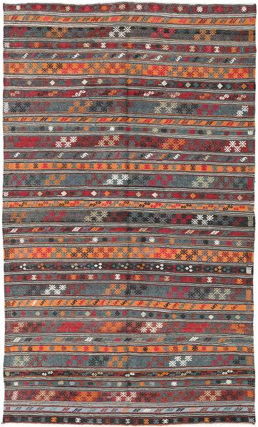 Kilim Turquie Tapis 180X303 D'orient Tissé À La Main Rouge Foncé/Gris Foncé (Laine, Turquie)