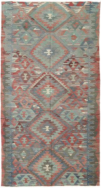 Kilim Turquie Tapis 158X302 D'orient Tissé À La Main Gris Clair/Vert Foncé (Laine, Turquie)