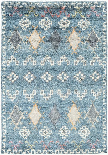 Zaurac - Bleu Gris Tapis 140X200 Moderne Fait Main Bleu Clair/Gris Clair (Laine, Inde)
