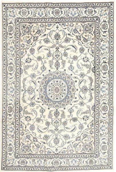 Naïn Tapis 196X293 D'orient Fait Main Gris Clair/Beige (Laine, Perse/Iran)