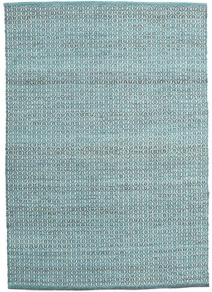 Alva - Turquoise/Blanc Tapis 140X200 Moderne Tissé À La Main Bleu Clair/Bleu Turquoise (Laine, Inde)