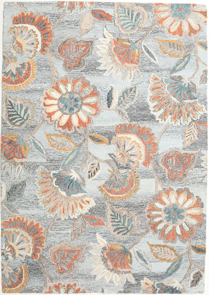 Rusty Flowers - Gris/Rouille Tapis 160X230 Moderne Gris Clair/Beige (Laine, Inde)