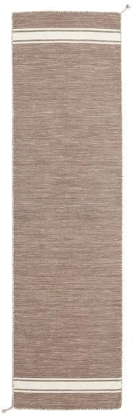Ernst - Marron Clair/Blanc Écru Tapis 80X300 Moderne Tissé À La Main Tapis Couloir Gris Clair (Laine, Inde)