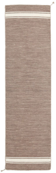Ernst - Marron Clair/Blanc Écru Tapis 80X400 Moderne Tissé À La Main Tapis Couloir Gris Clair (Laine, Inde)