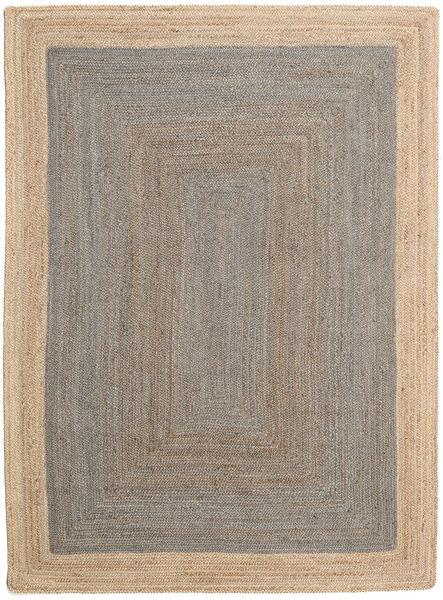Tapis D'extérieur Frida Frame - Gris/Natural Tapis 140X200 Moderne Tissé À La Main Gris Clair/Beige (Tapis De Jute Inde)