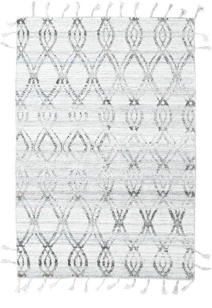Pet Yarn Kilim Tapis 164X240 Moderne Tissé À La Main Gris Clair/Blanc/Crème ( Inde)