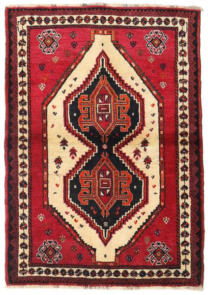 Shiraz Tapis 110X158 D'orient Fait Main Rouge Foncé/Rouge (Laine, Perse/Iran)