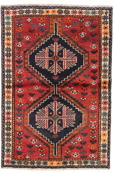 Shiraz Tapis 106X156 D'orient Fait Main Marron Foncé/Rouille/Rouge (Laine, Perse/Iran)