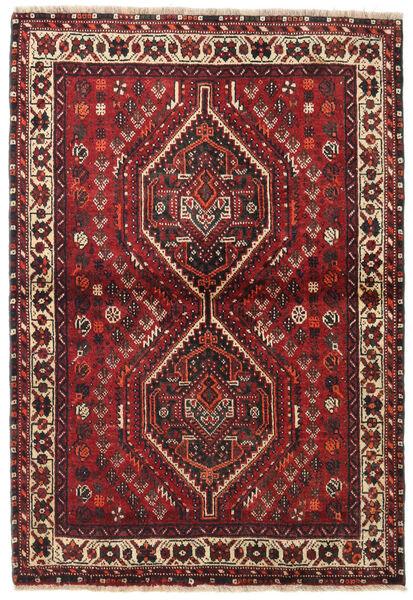 Shiraz Tapis 106X155 D'orient Fait Main Rouge Foncé/Marron Foncé (Laine, Perse/Iran)
