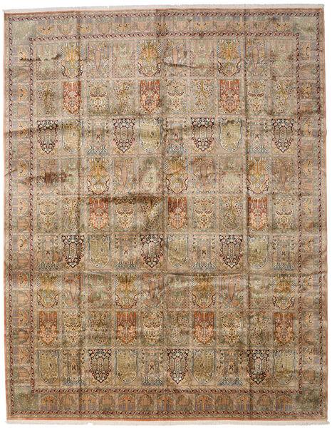 Cachemire Pure Soie Tapis 307X394 D'orient Fait Main Marron Clair/Gris Clair Grand (Soie, Inde)