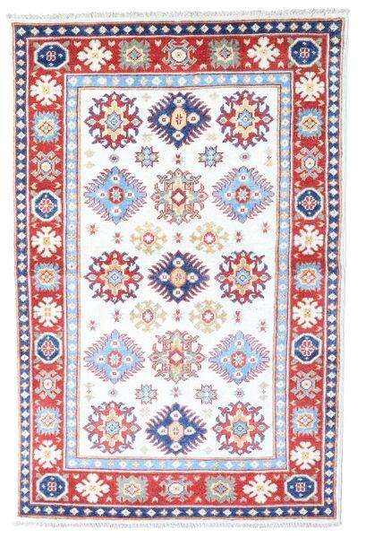 Kazak Tapis 98X149 D'orient Fait Main Blanc/Crème/Rose Clair (Laine, Afghanistan)
