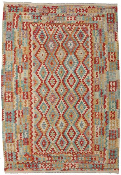 Kilim Afghan Old Style Tapis 208X298 D'orient Tissé À La Main Gris Clair/Rouille/Rouge (Laine, Afghanistan)
