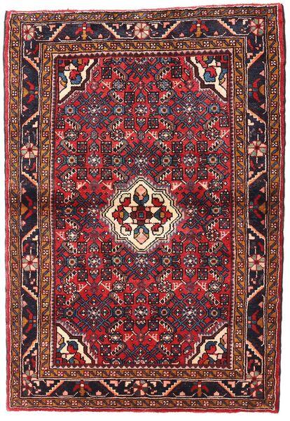 Hosseinabad Tapis 108X156 D'orient Fait Main Rouge Foncé/Rouille/Rouge (Laine, Perse/Iran)