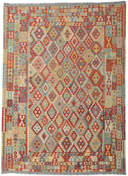 Kilim Afghan Old Style Tapis 248X345 D'orient Tissé À La Main Rouge Foncé/Beige Foncé (Laine, Afghanistan)
