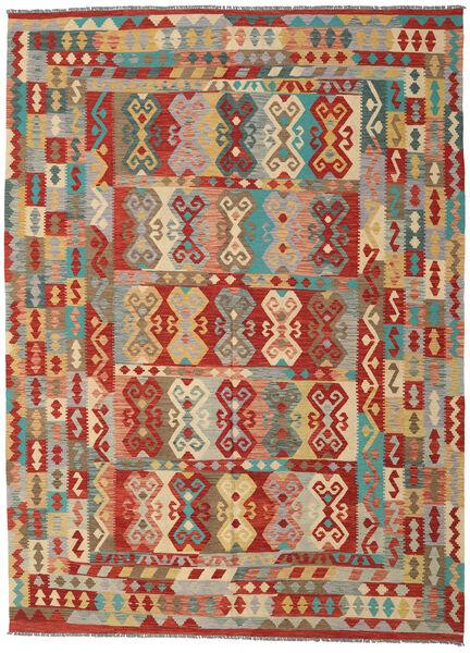 Kilim Afghan Old Style Tapis 251X343 D'orient Tissé À La Main Marron Clair/Beige Foncé Grand (Laine, Afghanistan)