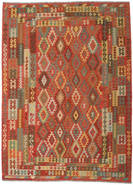 Kilim Afghan Old Style Tapis 249X344 D'orient Tissé À La Main Orange/Beige Foncé (Laine, Afghanistan)