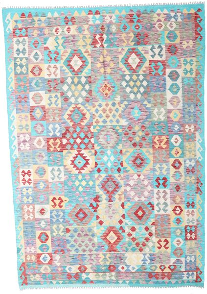 Kilim Afghan Old Style Tapis 207X299 D'orient Tissé À La Main Gris Clair/Beige (Laine, Afghanistan)