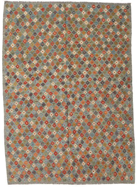 Kilim Afghan Old Style Tapis 207X290 D'orient Tissé À La Main Vert Olive/Gris Foncé (Laine, Afghanistan)
