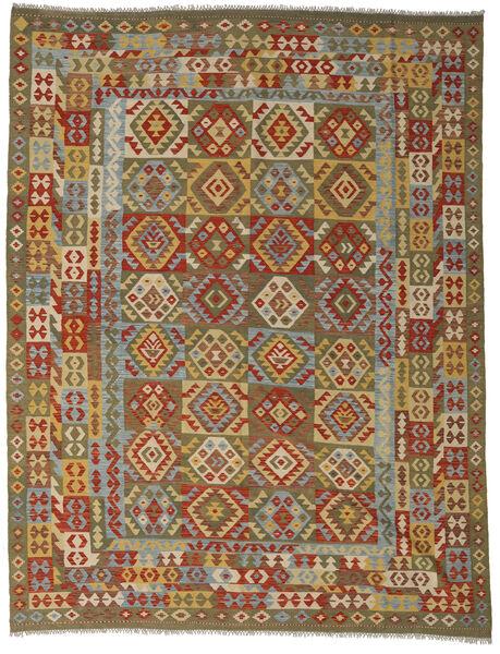 Kilim Afghan Old Style Tapis 255X335 D'orient Tissé À La Main Marron/Vert Olive Grand (Laine, Afghanistan)