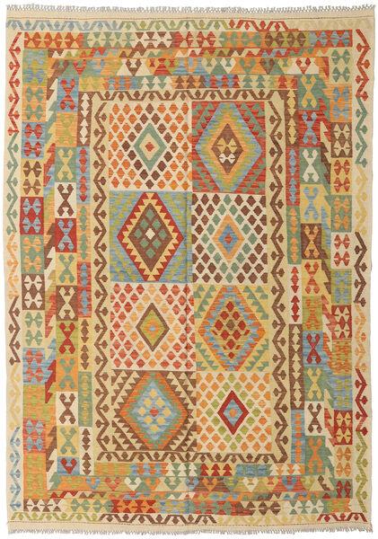 Kilim Afghan Old Style Tapis 203X289 D'orient Tissé À La Main Beige Foncé/Marron Clair (Laine, Afghanistan)