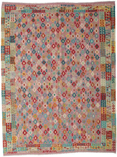 Kilim Afghan Old Style Tapis 260X340 D'orient Tissé À La Main Marron/Gris Clair Grand (Laine, Afghanistan)
