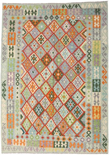 Kilim Afghan Old Style Tapis 212X296 D'orient Tissé À La Main Gris Clair/Beige Foncé (Laine, Afghanistan)